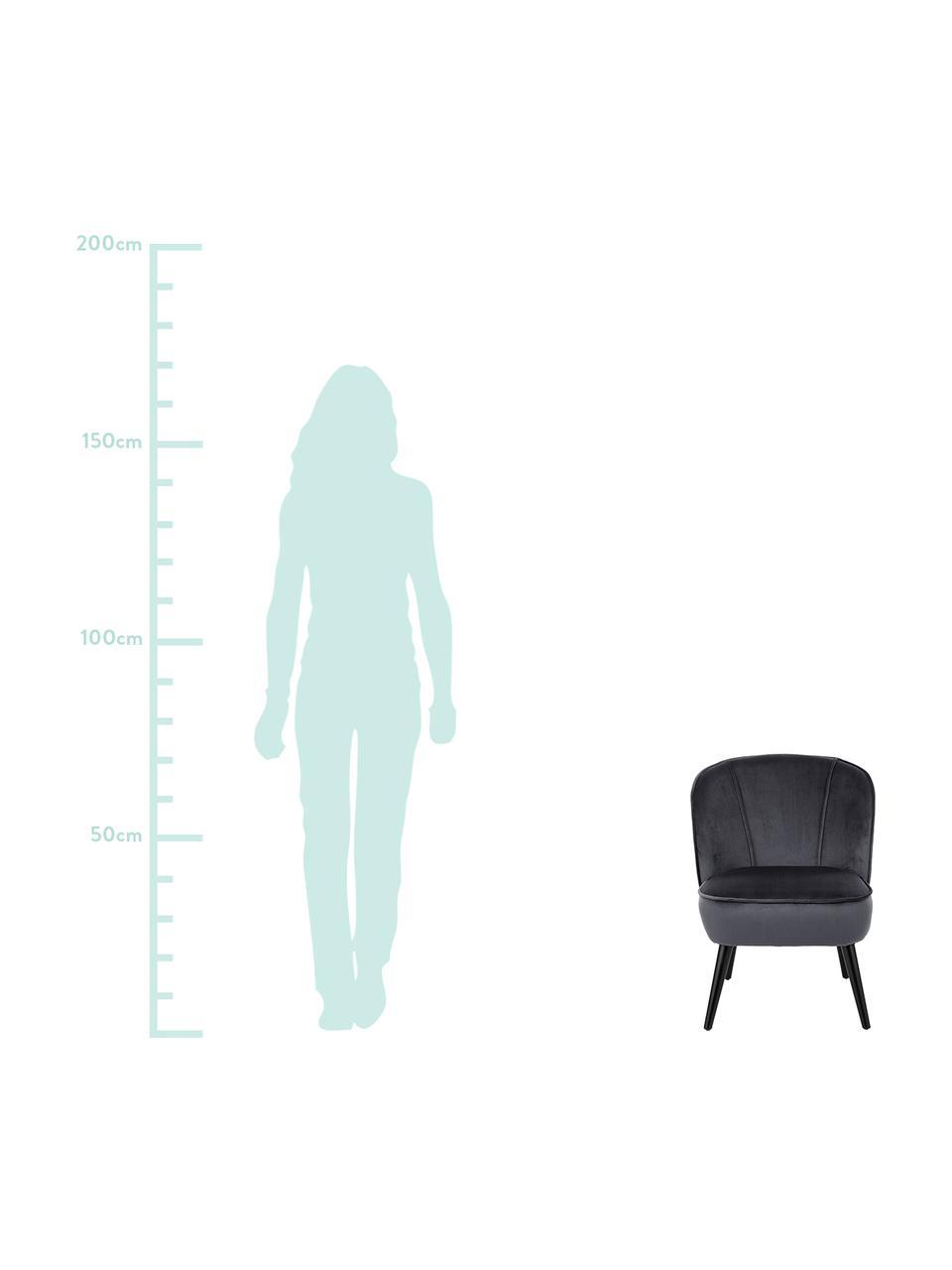 Samt-Cocktailsessel Lucky in Grau, Bezug: Samt (Polyester) Der hoch, Füße: Kautschukholz, lackiert, Samt Dunkelgrau, B 59 x T 68 cm