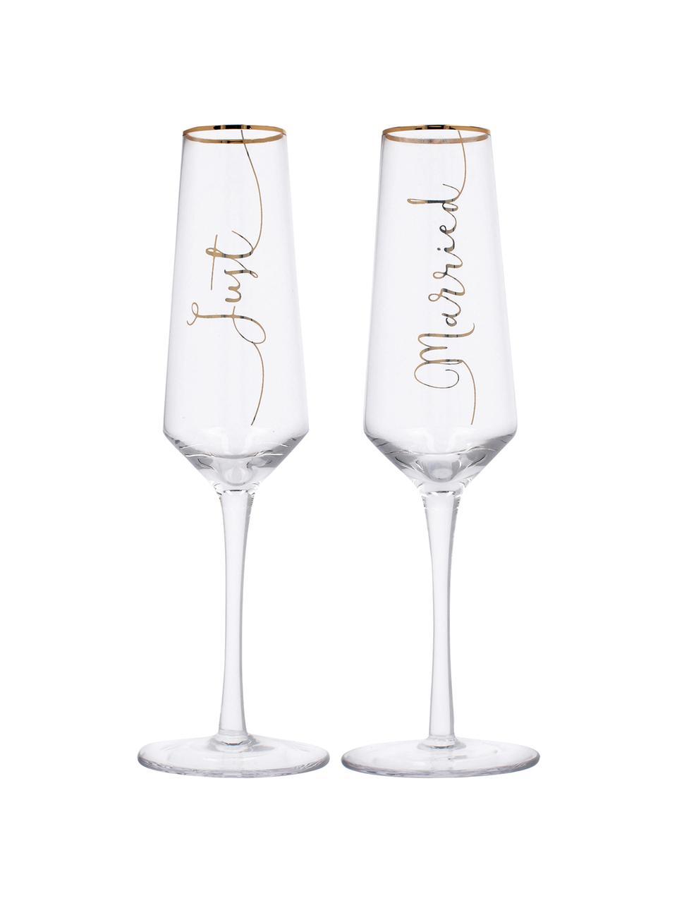 Flûtes à champagne avec lettrage doré Just Married, 2élém., Transparent, couleur dorée