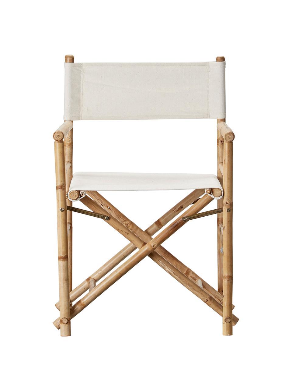 Opvouwbare regisseursstoel Mandisa van bamboehout, Frame: onbehandeld bamboehout, Frame: bamboehoutkleurig. Bespanning: helder linnenkleurig, 58 x 88 cm