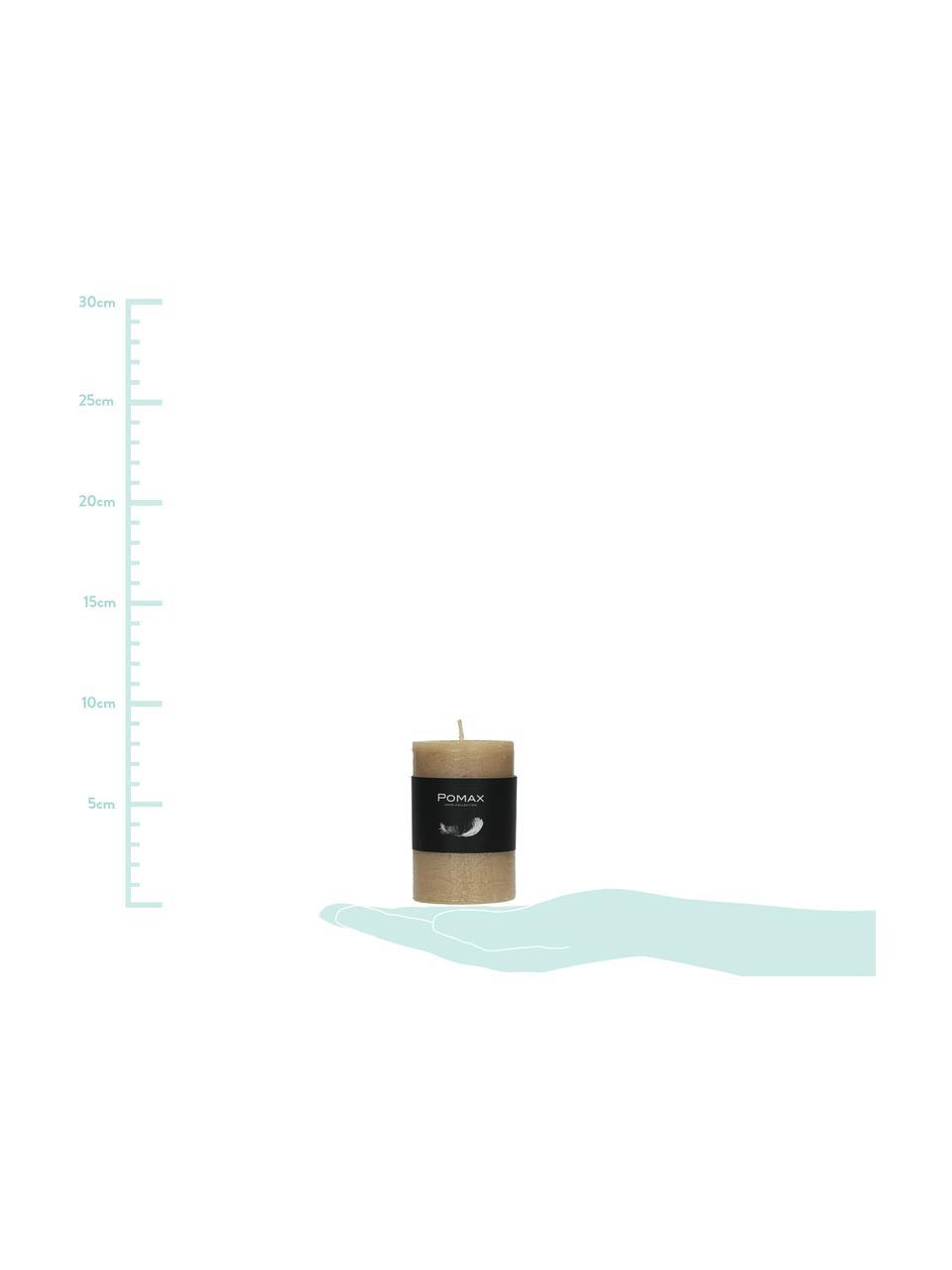 Stumpenkerze Arda, 80% Paraffinwachs, 20% Palmwachs, Champagnerfarben, Ø 5 x H 8 cm