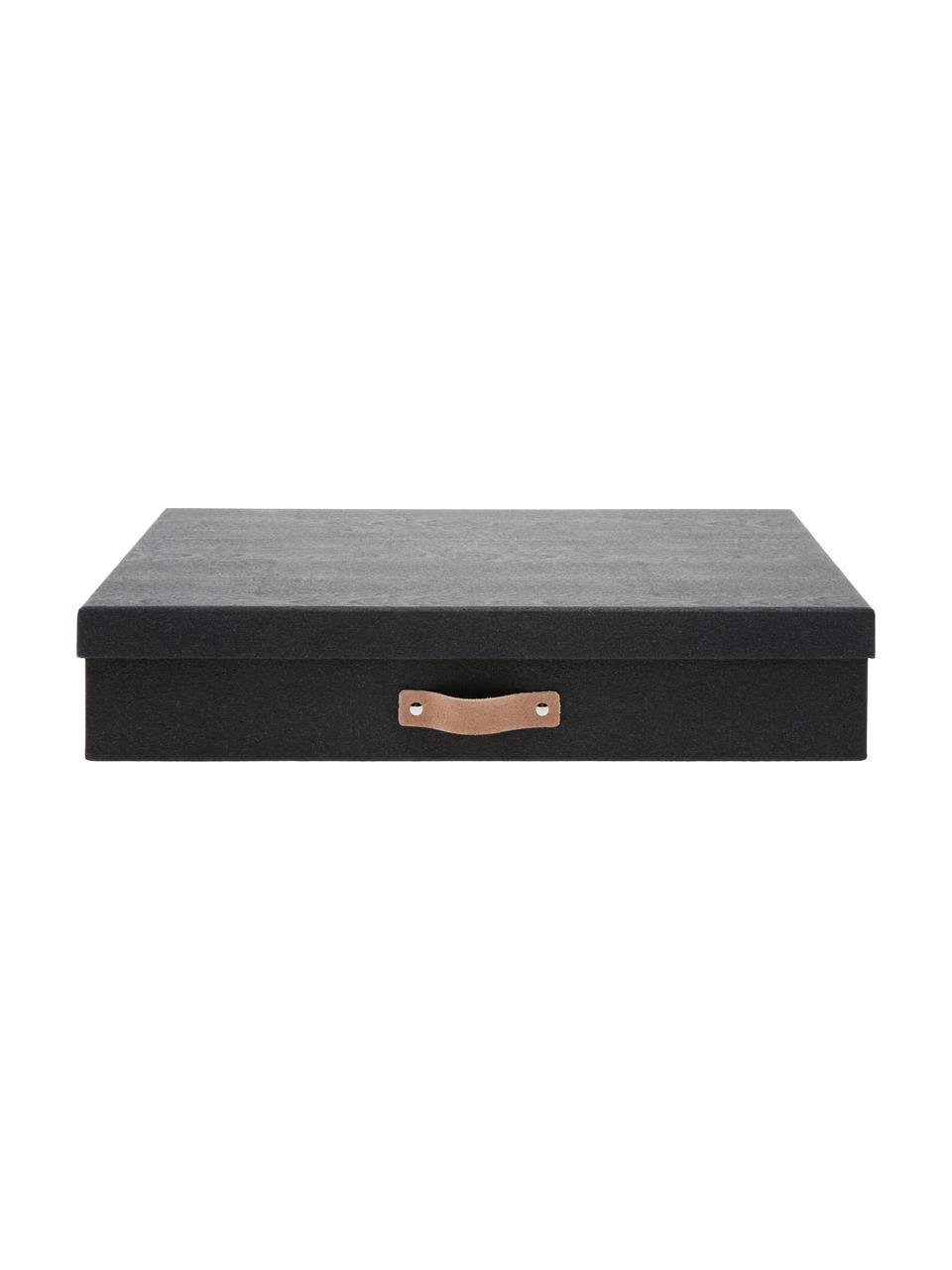 Scatola con coperchio Sverker II, Scatola: cartone massiccio, stampa, Manico: pelle, Organizzatore esterno: nero Organizzatore interno: nero Presa: beige, Larg. 44 x Alt. 9 cm