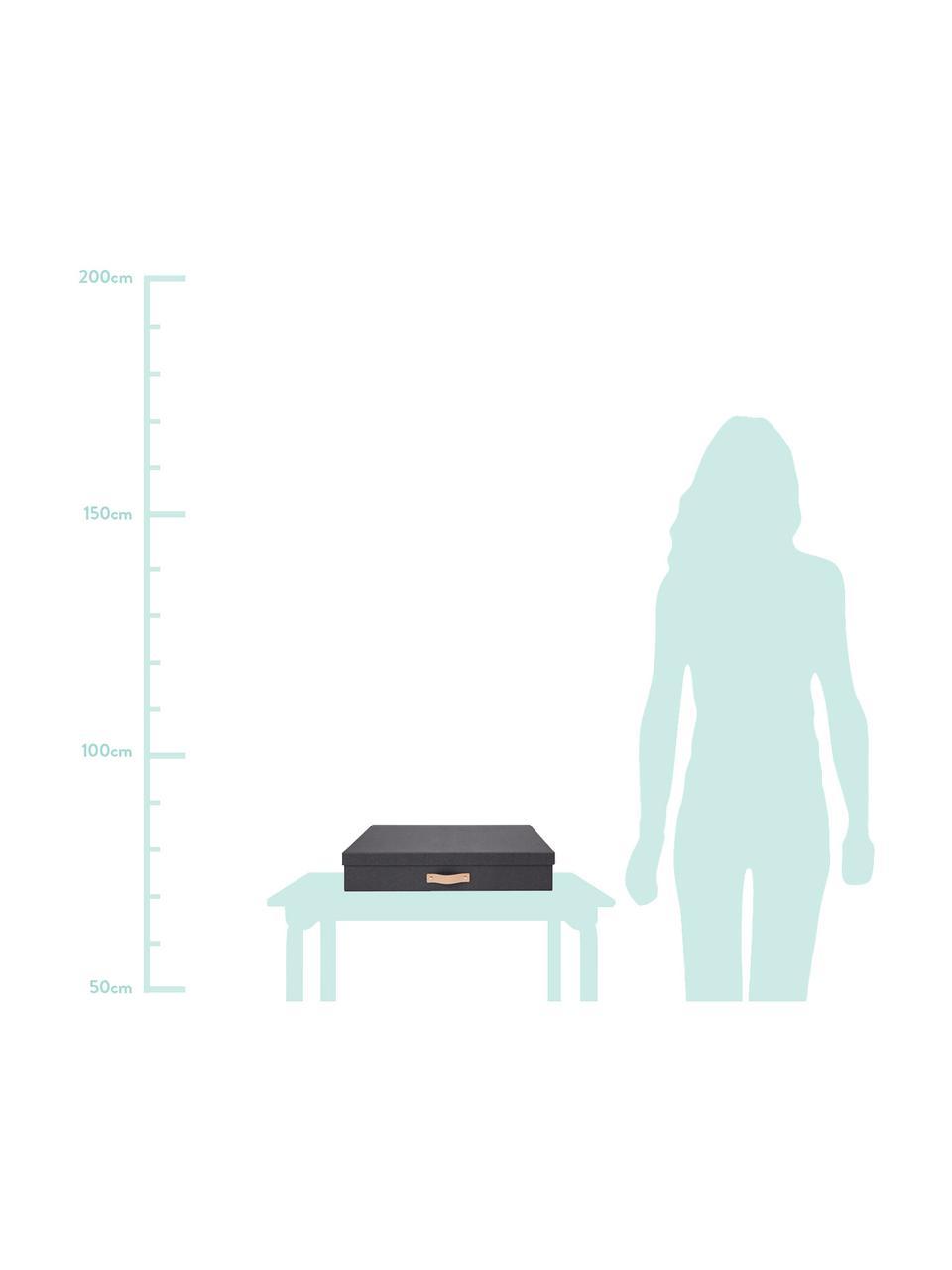 Caja Sverker II, Asa: cuero, Negro, An 44 x Al 9 cm