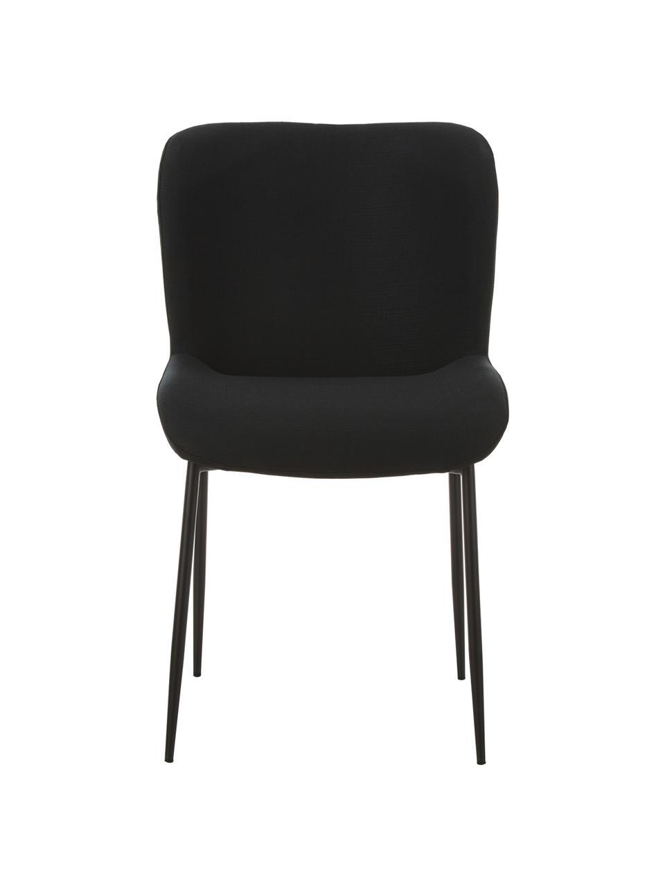Sedia imbottita in tessuto nero Tess, Rivestimento: poliestere 25.000 cicli d, Gambe: metallo verniciato a polv, Tessuto nero, gambe: nero, Larg. 48 x Prof. 64 cm