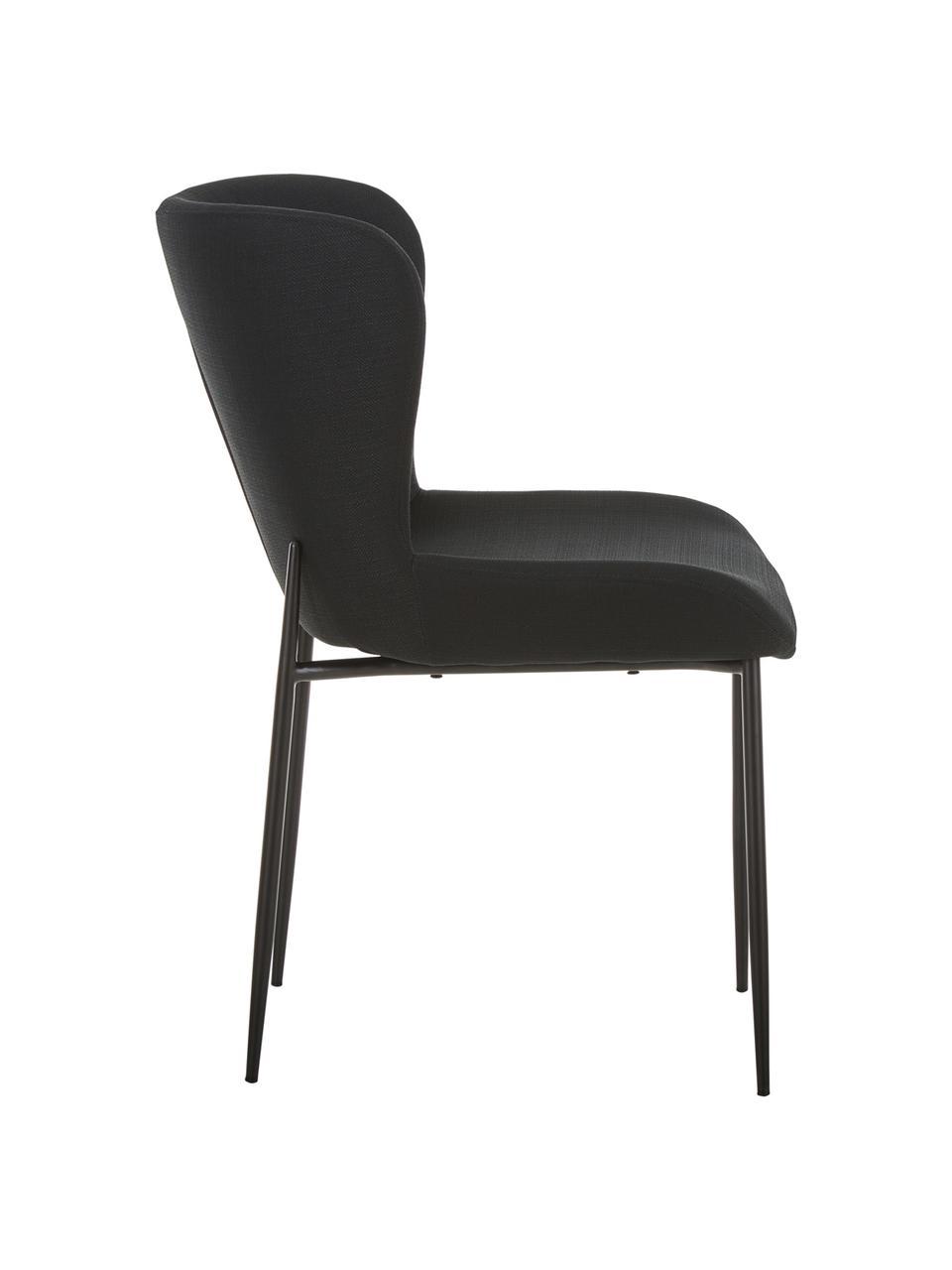 Chaise rembourrée design Tess, Tissu noir, pieds noirs