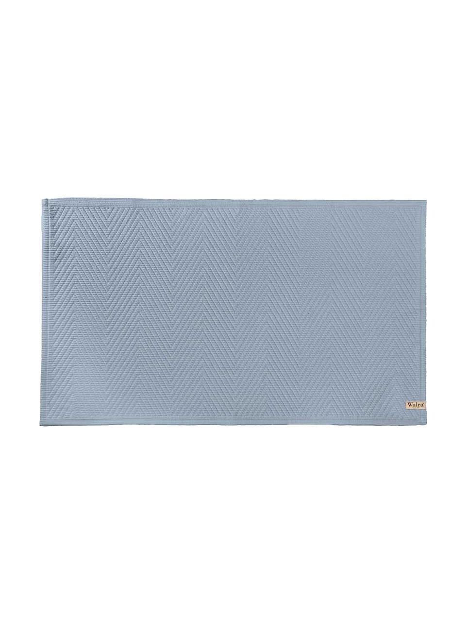 Tappeto bagno con motivo spina di pesce Soft Cotton, Cotone, Blu, Larg. 60 x Lung. 100 cm