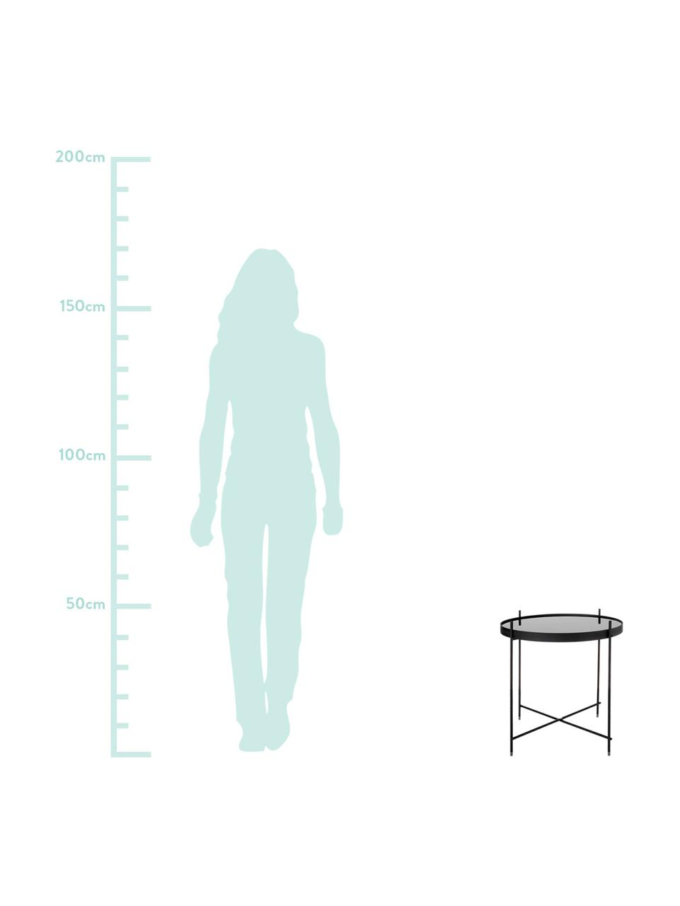 Tavolino-vassoio con piano in vetro Cupid, Struttura: ferro verniciato a polver, Piano d'appoggio: vetro nero, Nero, Ø 43 x Alt. 45 cm