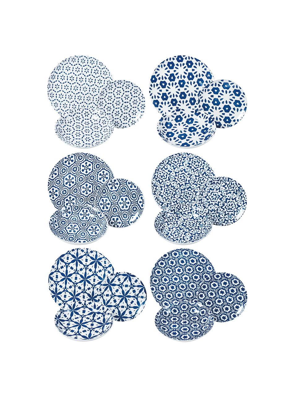 Gemustertes Geschirr-Set Bodrum in Blau/Weiß, 6 Personen (18-tlg.), Porzellan, Blau, Weiß, Sondergrößen