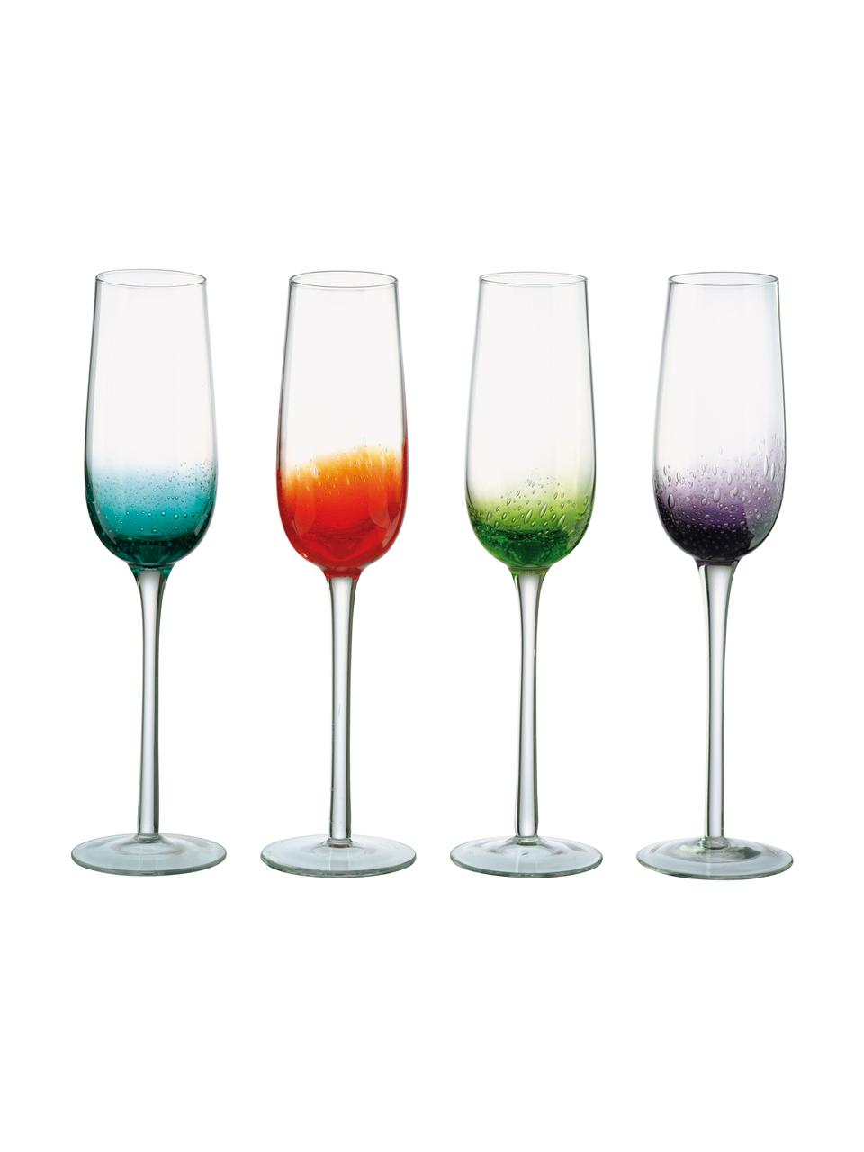 Mondgeblazen champagneglazen Fizz in verschillende kleuren, 4-delig, Mondgeblazen glas, Transparant, multicolour, 250 ml