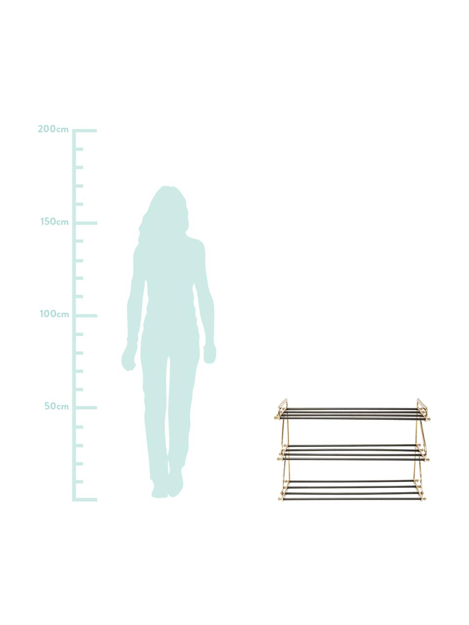 Metall-Schuhregal Walk mit 3 Ablageflächen, Gestell: Aluminium, pulverbeschich, Messingfarben, Schwarz, 84 x 55 cm