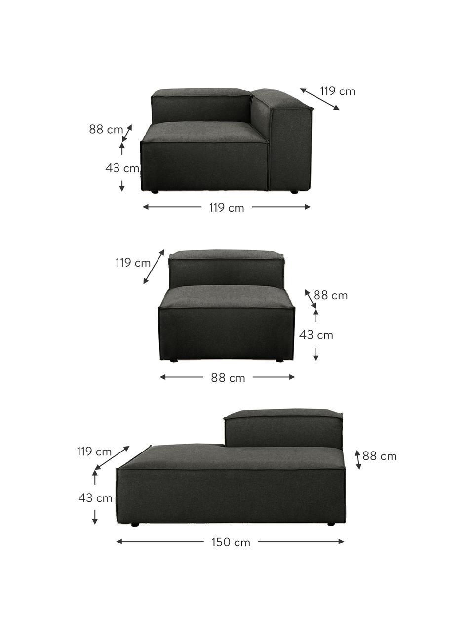 Modulaire XL chaise longue Lennon in antraciet, Bekleding: polyester De hoogwaardige, Frame: massief grenenhout, multi, Poten: kunststof, Geweven stof antraciet, B 357 x D 119 cm