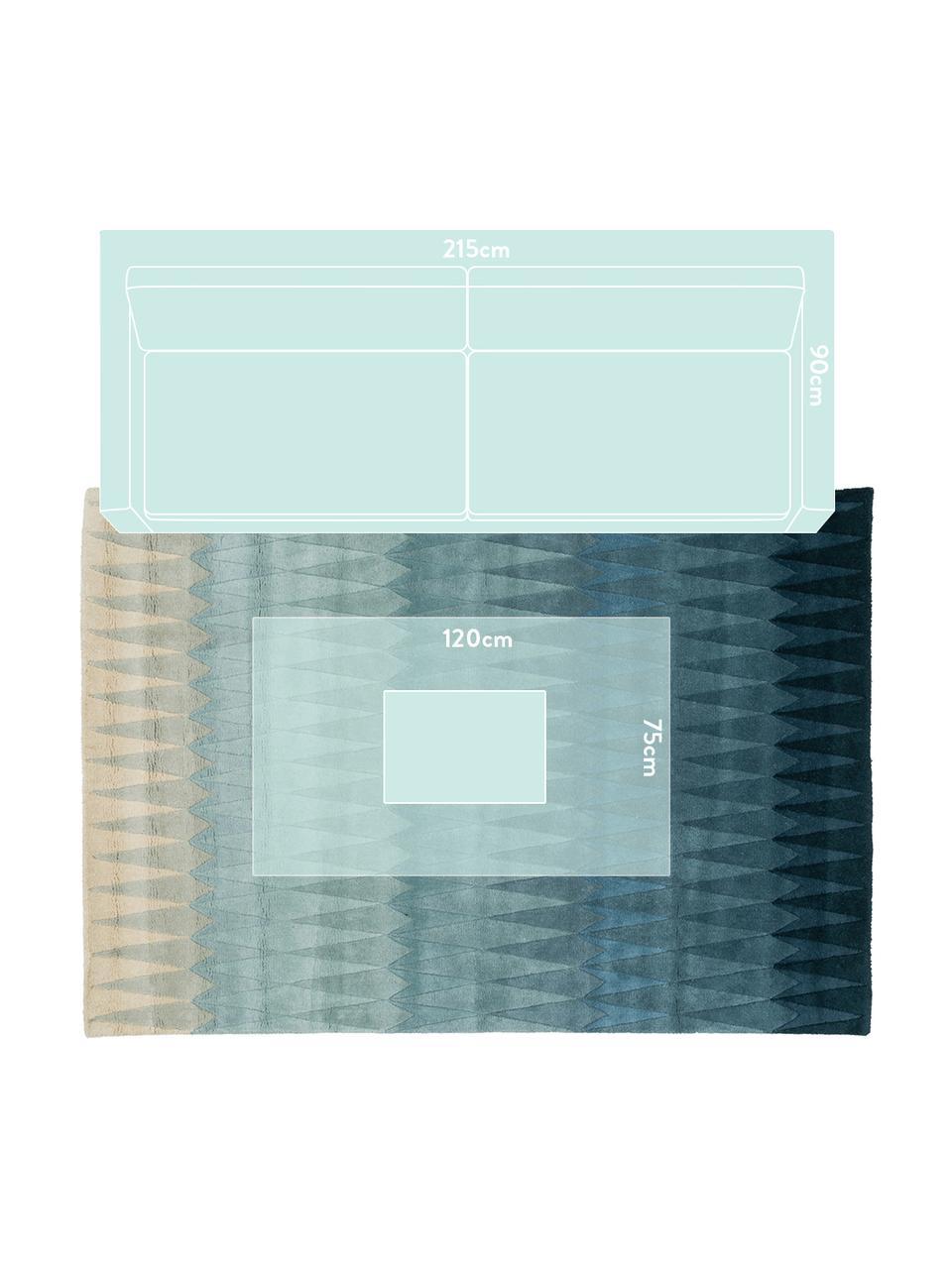 Handgetufteter Designteppich Acacia mit Farbverlauf in Blau, Flor: 100% Wolle, Blautöne, Beigetöne, B 170 x L 240 cm (Größe M)