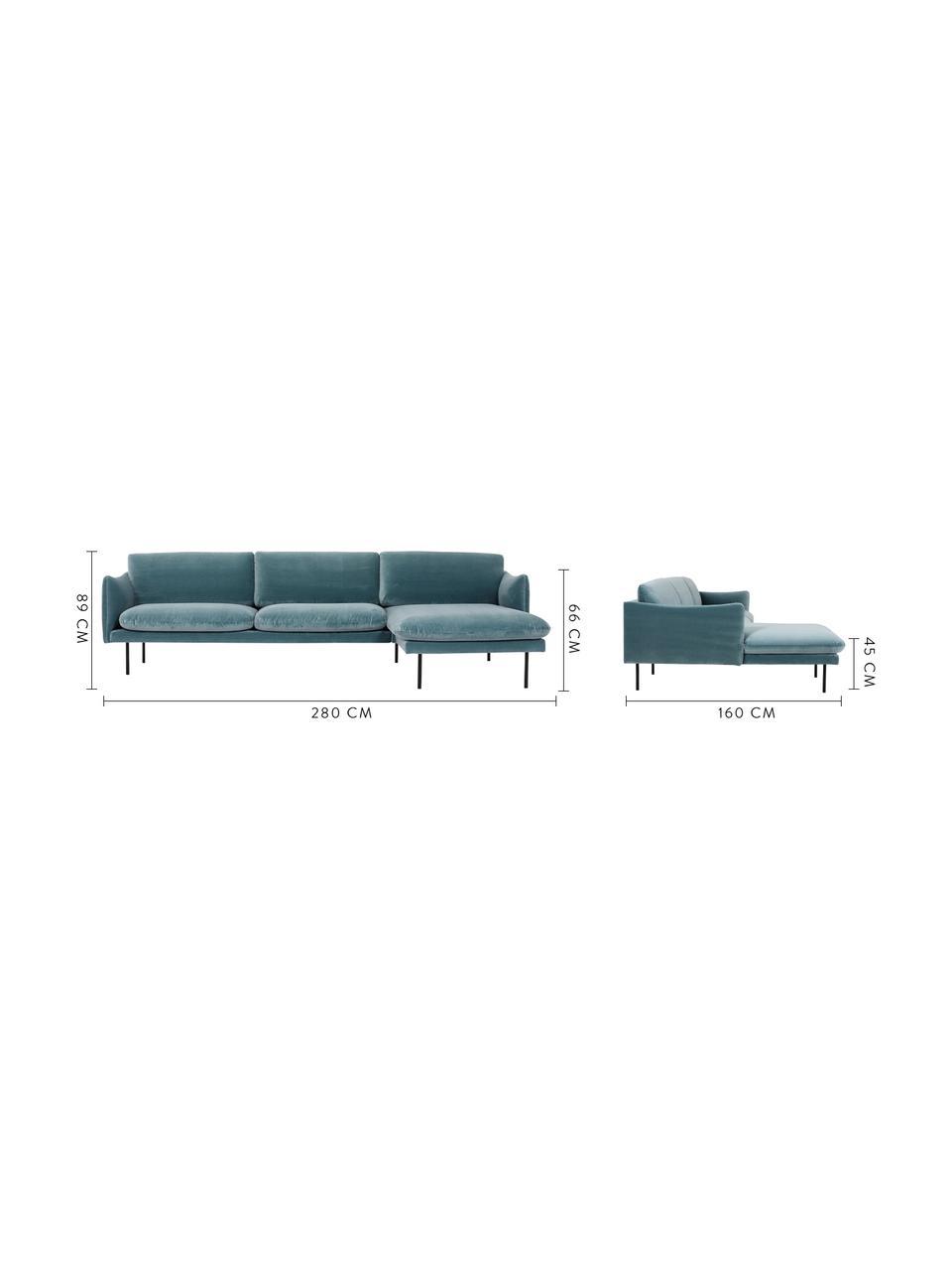 Fluwelen hoekbank Moby in turquoise met metalen poten, Bekleding: geweven stof (polyester), Frame: massief grenenhout, Poten: gelakt metaal, Fluweel turquoise, B 280 x D 160 cm