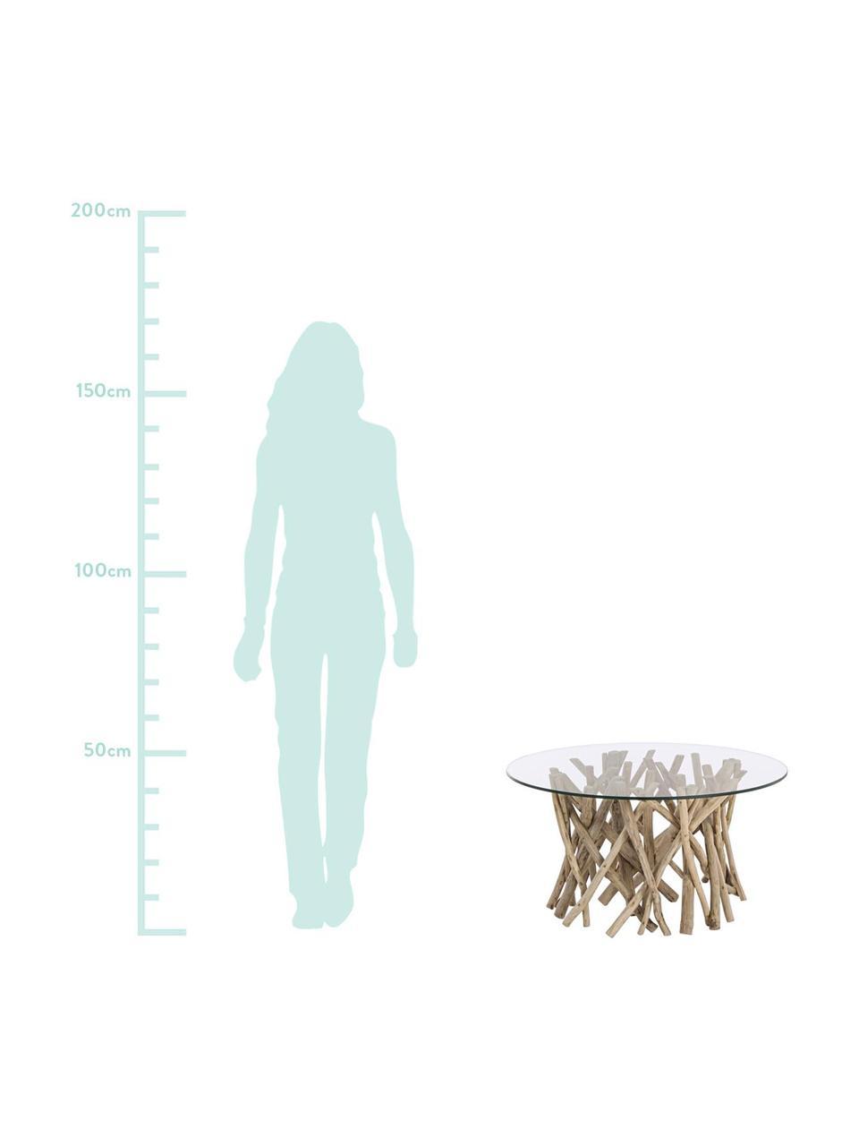 Teakholz-Couchtisch Samira mit Glasplatte, Tischplatte: Gehärtetes Glas, Gestell: Teakholz, gebleicht und g, Tischplatte: TransparentGestell: Teakholz, gebleicht, Antik-Finish, 80 x 40 cm