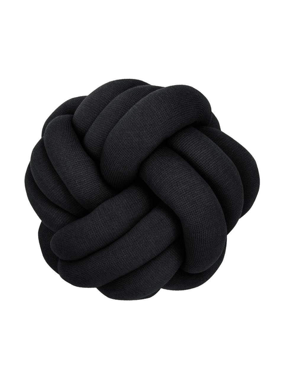 Geknoopt kussen Twist in zwart, Zwart, Ø 30 cm