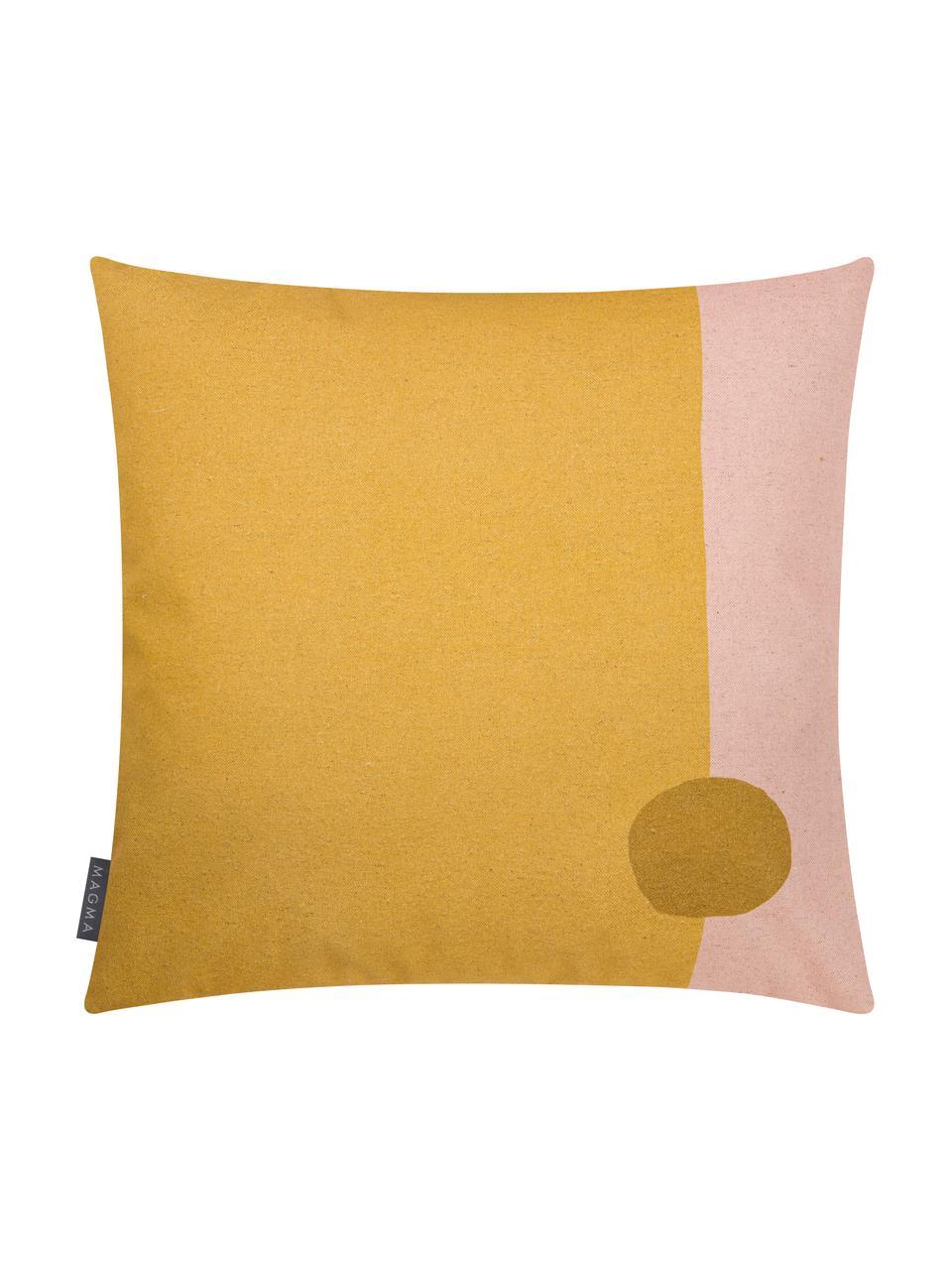 Federa arredo reversibile con motivo astratto Images, 85% cotone, 15% lino, Giallo, rosa, marrone chiaro, Larg. 50 x Lung. 50 cm