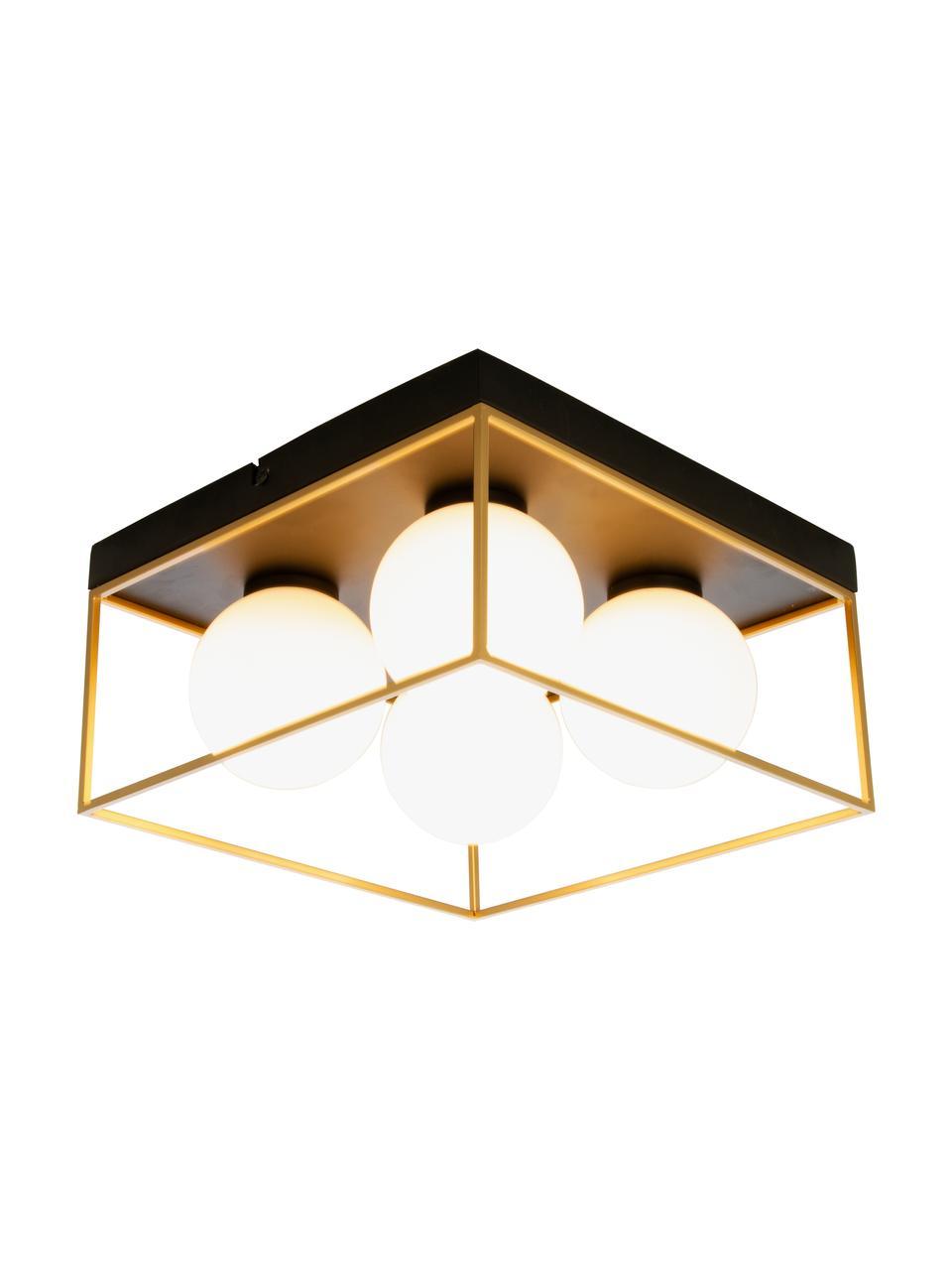 Moderne Deckenleuchte Astro aus Opalglas, Lampenschirm: Opalglas, Baldachin: Metall, beschichtet, Goldfarben, Schwarz, Weiß, 28 x 15 cm
