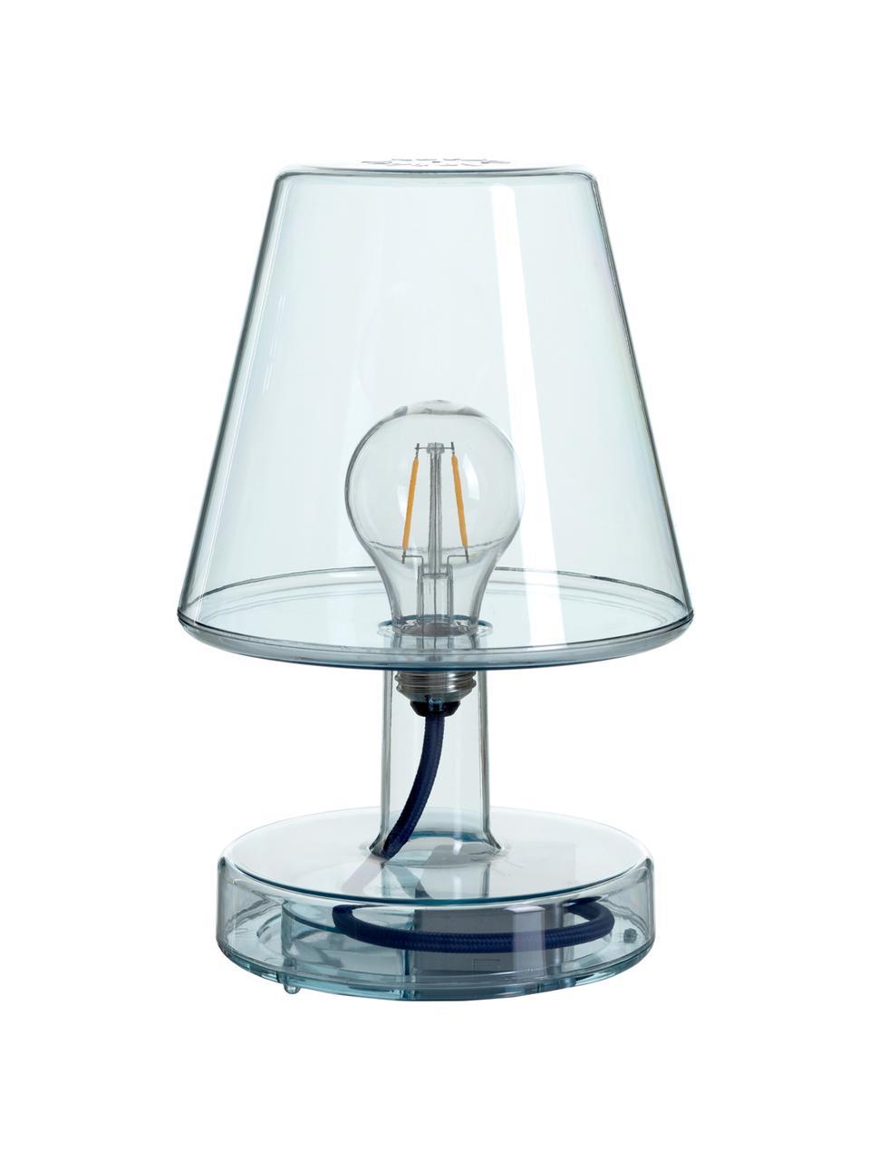 Mobile LED-Tischleuchte Transloetje, Kunststoff, Blau, transparent, Ø 17 x H 27 cm