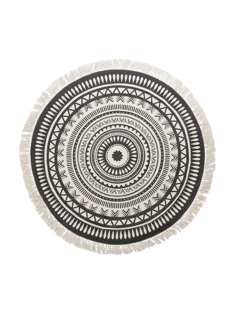 Runder Teppich Benji mit Fransen, flachgewebt, Schwarz, Beige, Ø 150 cm (Größe M)