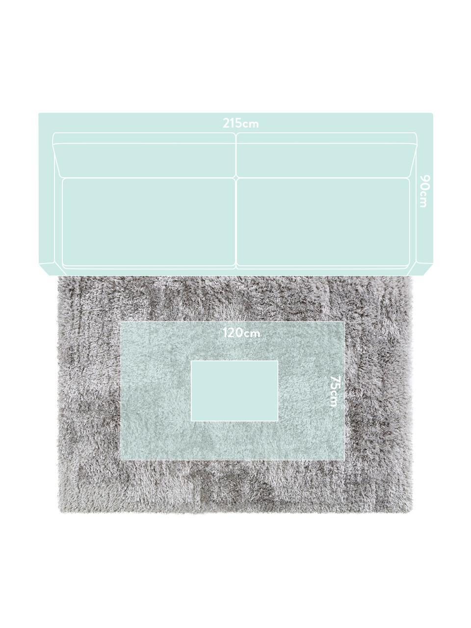 Glänzender Hochflor-Teppich Lea in Hellgrau, Flor: 50% Polyester, 50% Polypr, Grau, B 300 x L 400 cm (Größe XL)