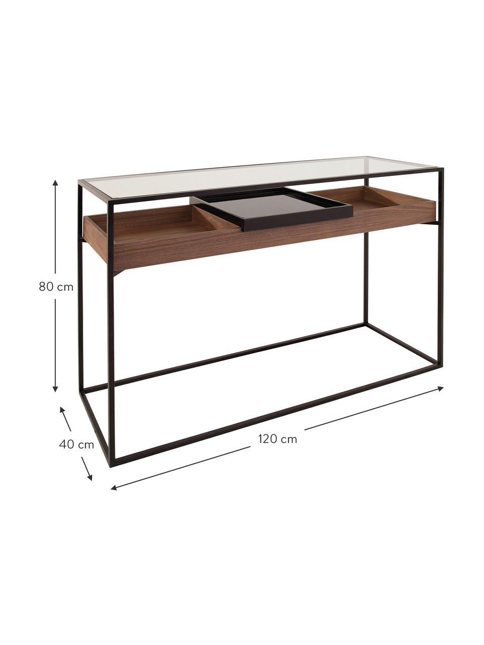 Sidetable Helix met opbergruimte, Frame: gepoedercoat metaal, Tafelblad: glas, Dienblad: gelakt metaal, Zwart, transparant, walnoothoutkleurig, B 120 x D 40 cm
