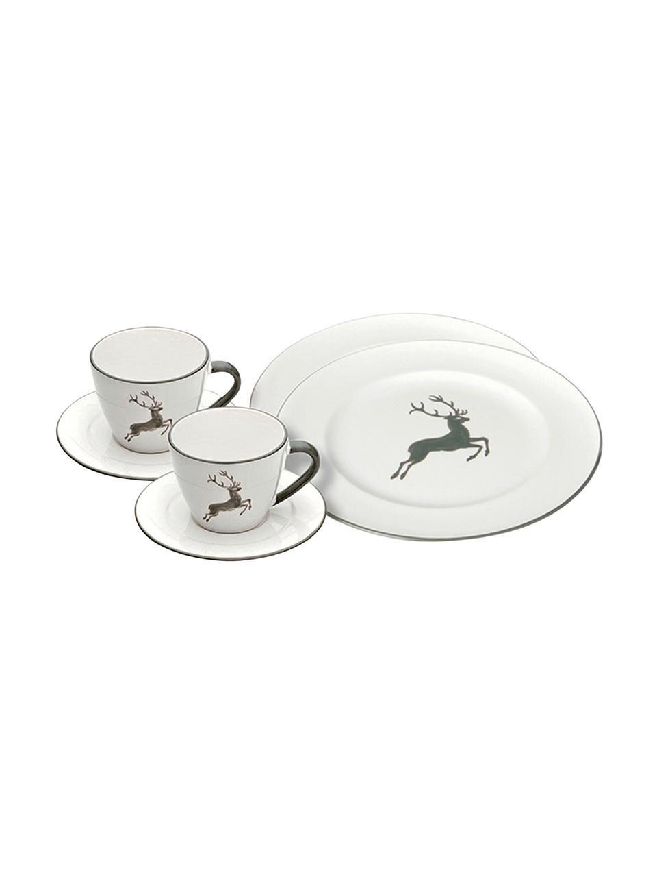 Handbemaltes Kaffeeservice Gourmet Grauer Hirsch, 2 Personen (6-tlg.), Keramik, Grau,Weiß, verschiedene Größen