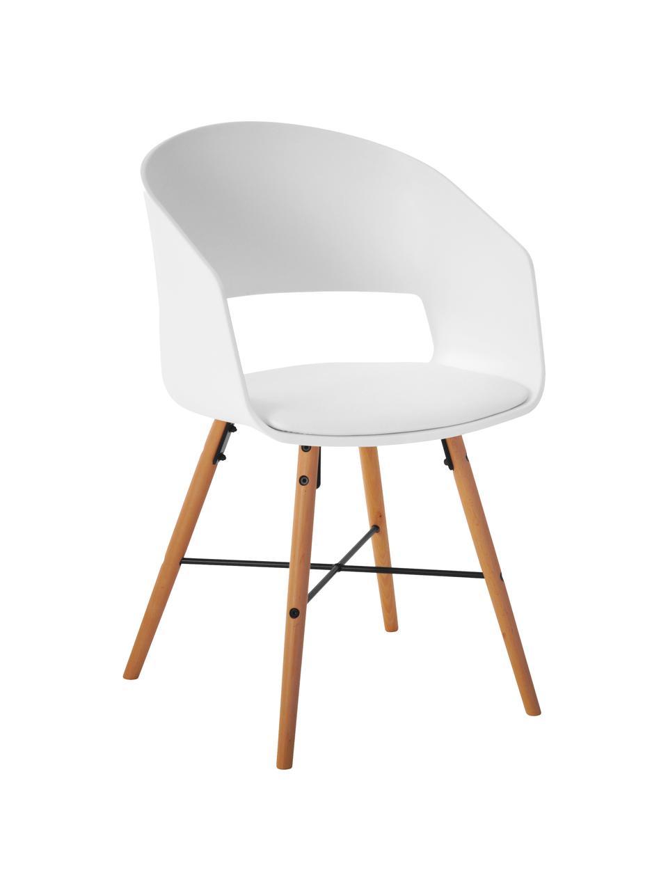 Chaises à accoudoirs style scandinave Luna, 2pièces, Assise: blanc Pieds: bois de hêtre, brillant