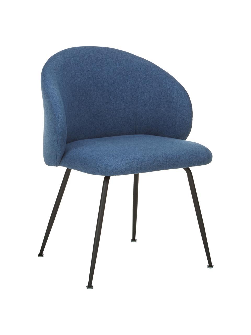 Chaise rembourrée Luisa, 2pièces, Tissu bleu, noir