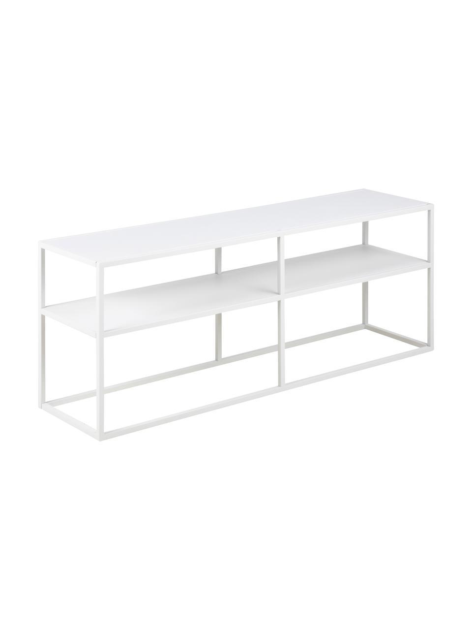 Weißes Metall-Lowboard Newton mit Ablageflächen, Metall, pulverbeschichtet, Weiß, 120 x 46 cm