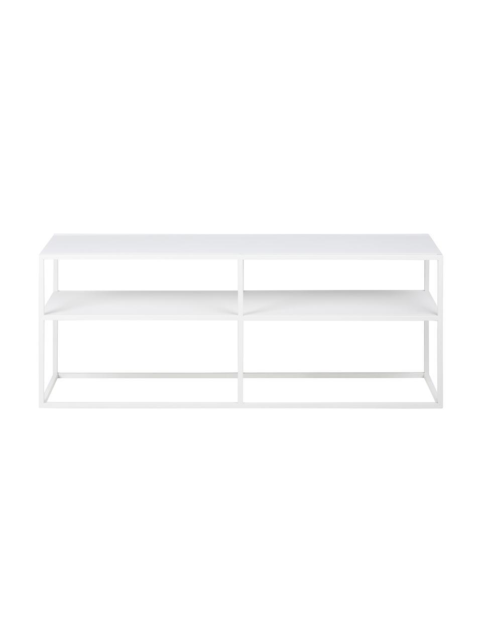 Credenza bassa in metallo bianco Newton, Metallo verniciato a polvere, Bianco, Larg. 120 x Alt. 46 cm