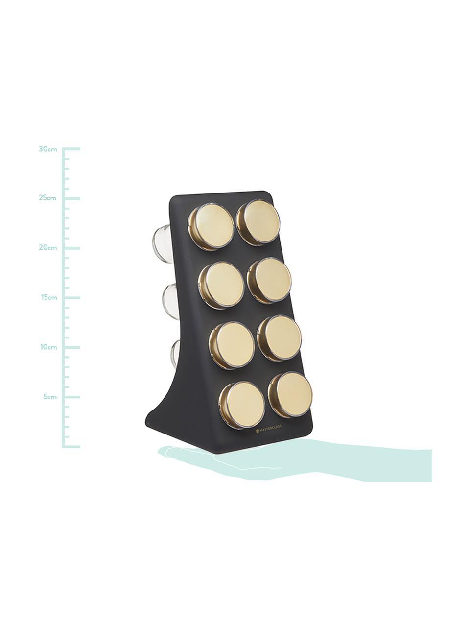 Gewürzregal Master Class mit Gewürzdosen in Schwarz/Gold, 9-tlg., Halterung: Kunststoff, Behälter: Glas, Metall, beschichtet, Schwarz, Messingfarben, 13 x 26 cm