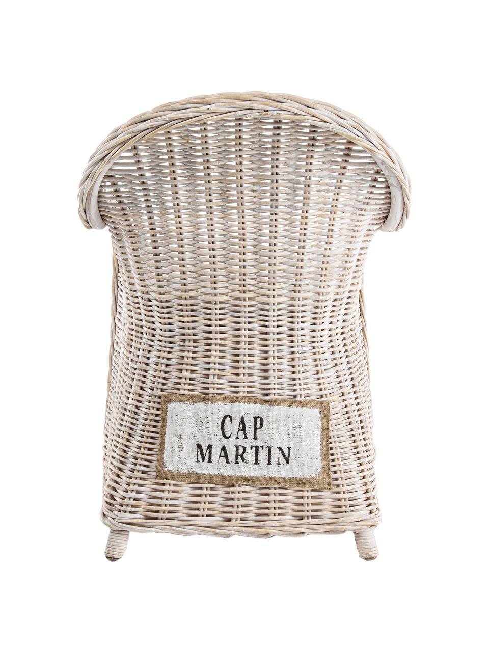 Rattan-Armlehnstuhl Martin mit Sitzauflage, Bezug: Baumwolle, Rattan, Weiß, 60 x 89 cm