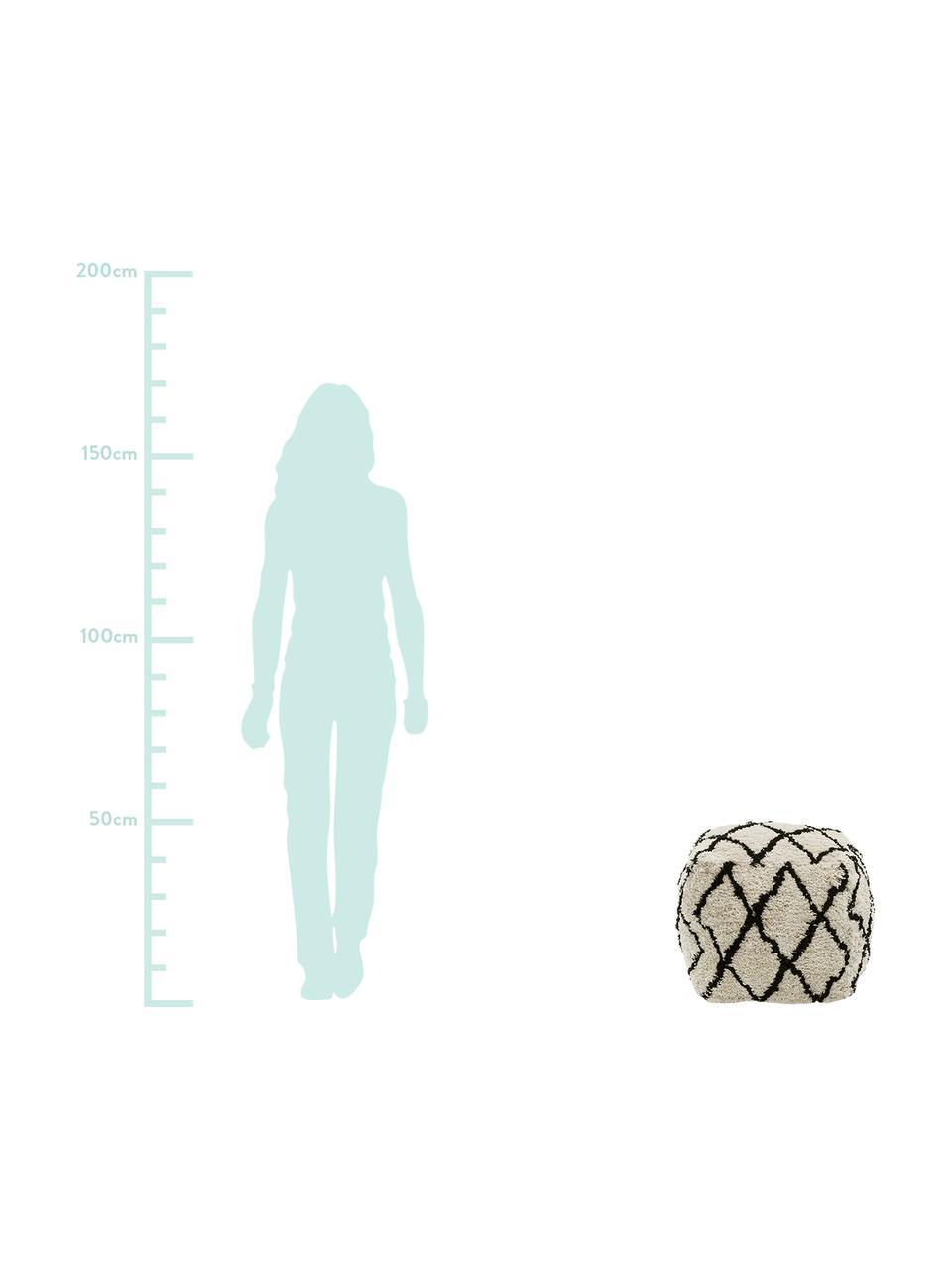 Pouf fatto a mano Naima, Rivestimento: poliestere, Beige, nero, Larg. 45 x Alt. 45 cm