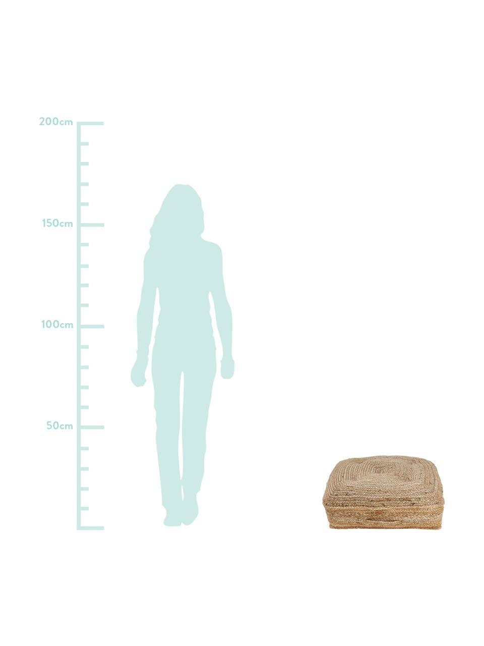 Cuscino da pavimento in iuta Ural, Retro: cotone, Iuta, Larg. 60 x Alt. 13 cm