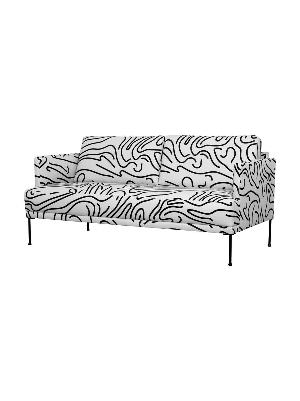 Gemustertes Sofa Fluente (2-Sitzer), Bezug: 100% Polyester Der hochwe, Gestell: Massives Kiefernholz, Füße: Metall, pulverbeschichtet, Webstoff Weiß, B 166 x T 85 cm