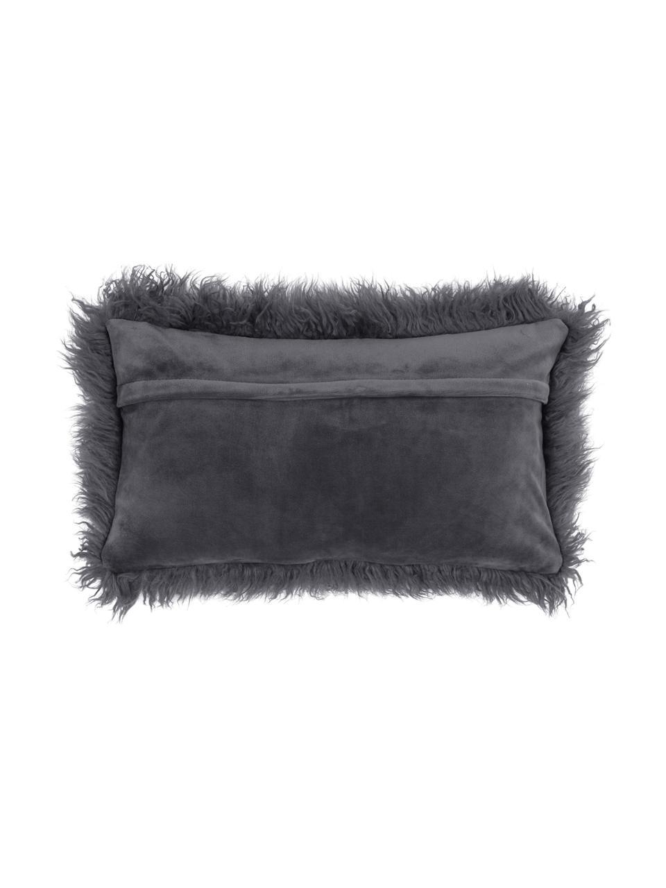 Federa arredo in ecopelliccia grigio scuro Morten, Retro: 100% poliestere, Grigio scuro, Larg. 30 x Lung. 50 cm