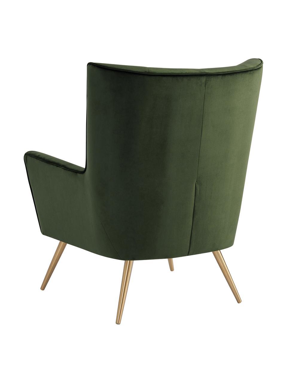 Samt-Ohrensessel Bodiva in Grün, Bezug: Polyester (Samt), Füße: Metall, lackiert, Waldgrün, Messingfarben, B 82 x T 88 cm