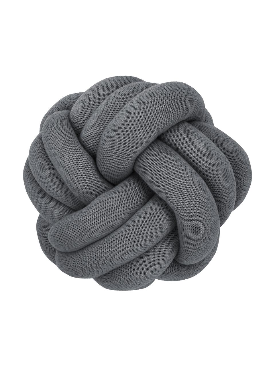 Knoten-Kissen Twist in Dunkelgrau, Dunkelgrau, Ø 30 cm
