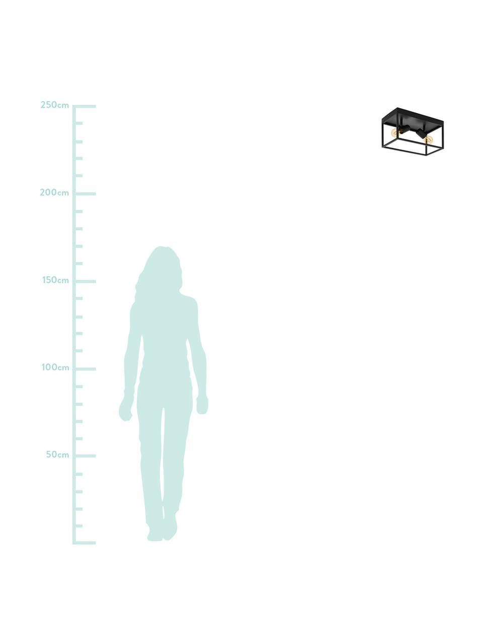 Deckenleuchte Silentina im Industrial-Style, Stahl, pulverbeschichtet, Schwarz, 36 x 21 cm