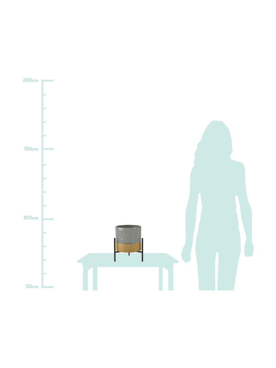 Osłonka na doniczkę Pluto, Nogi: metal, Osłonka na doniczkę powyżej: szary Osłonka na doniczkę poniżej: beżowy Stelaż: c, Ø 18 x W 26 cm