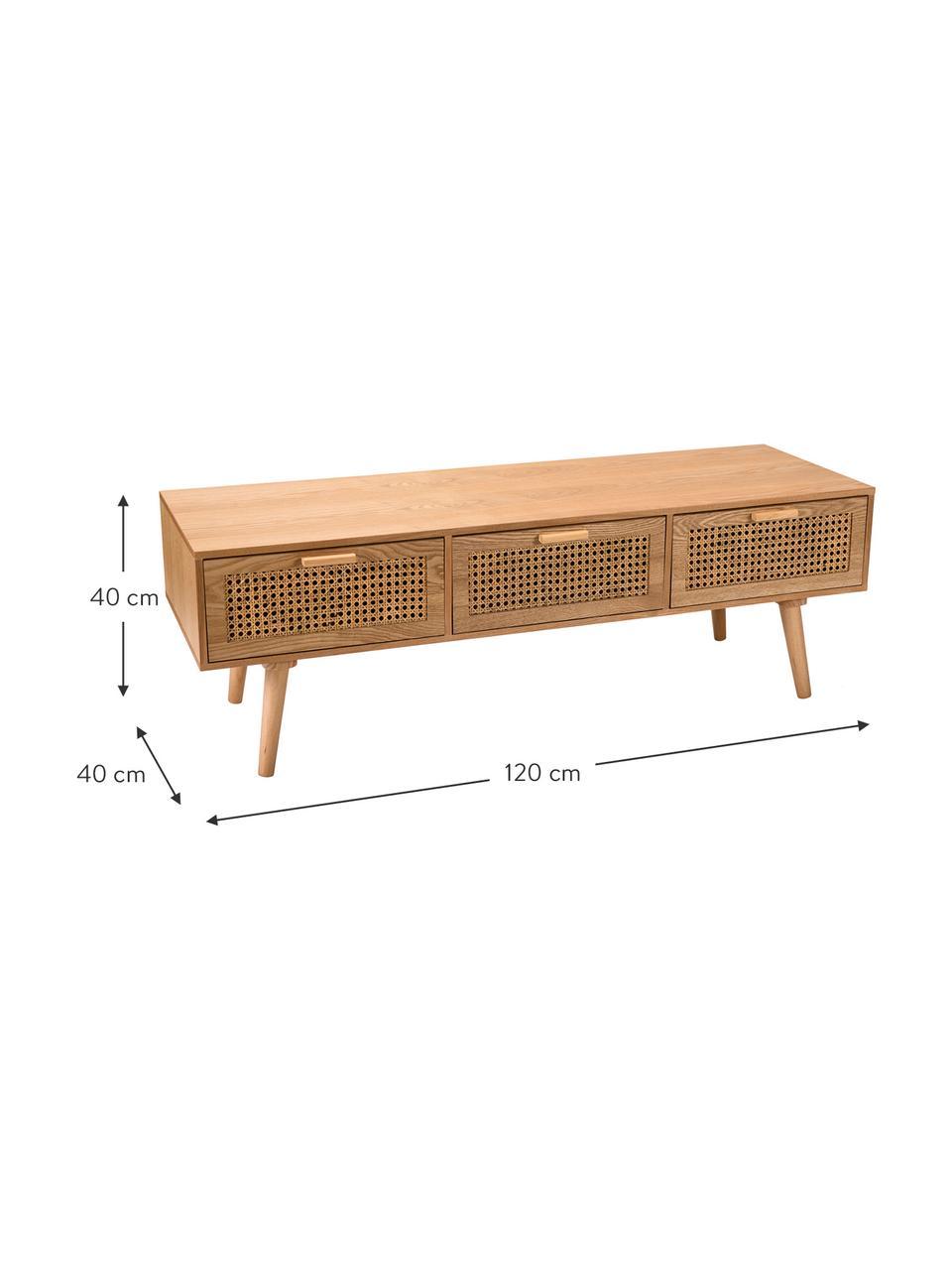Mobile TV in legno con intreccio viennese Romeo, Pannello di fibra a media densità (MDF) con finitura in legno di frassino, Finitura in legno di frassino, Larg. 120 x Alt. 40 cm