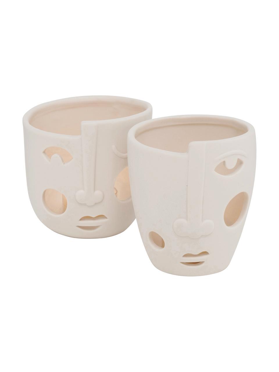 Teelichthalter-Set Faces, 2-tlg., Porzellan, Cremeweiß, Ø 9 x 9 cm