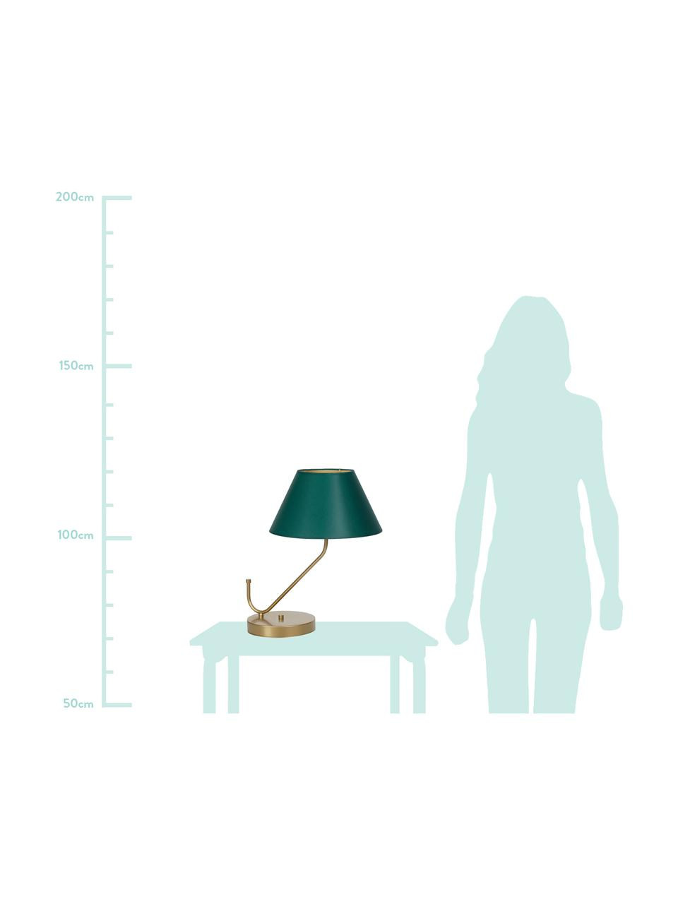 Design Nachttischlampe Victoria, Lampenschirm: Baumwollgemisch, Lampenfuß: Metall, beschichtet, Grün, Goldfarben, 45 x 50 cm