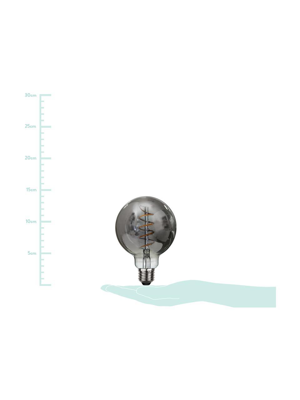 E27 Leuchtmittel, 4W, dimmbar, warmweiß, 1 Stück, Leuchtmittelschirm: Glas, Leuchtmittelfassung: Aluminium, Grau, transparent, Ø 10 x H 14 cm