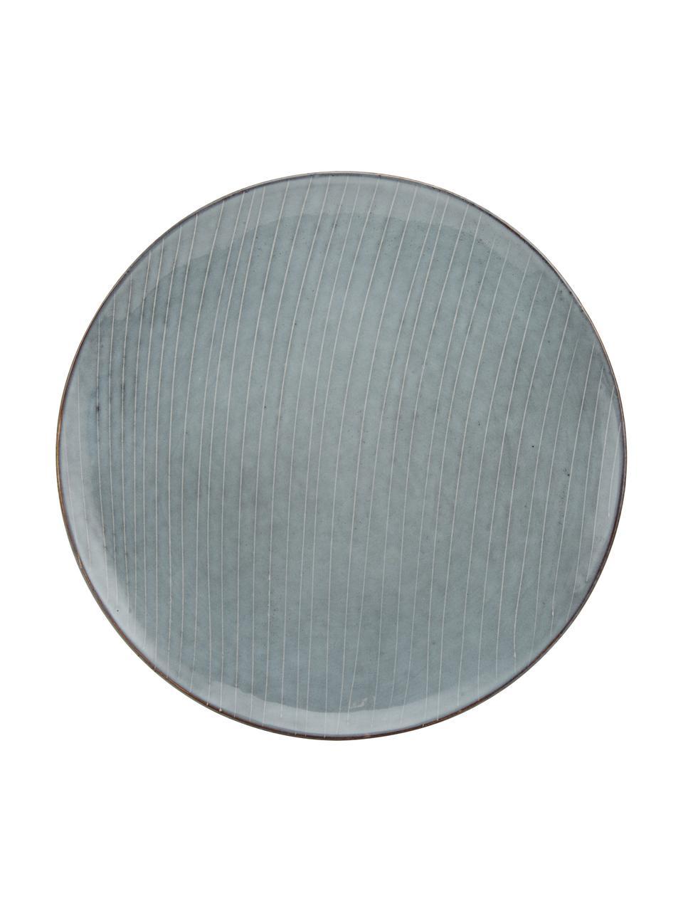 Handgemachte Speiseteller Nordic Sea aus Steingut, 4 Stück, Steingut, Grau- und Blautöne, Ø 26 cm
