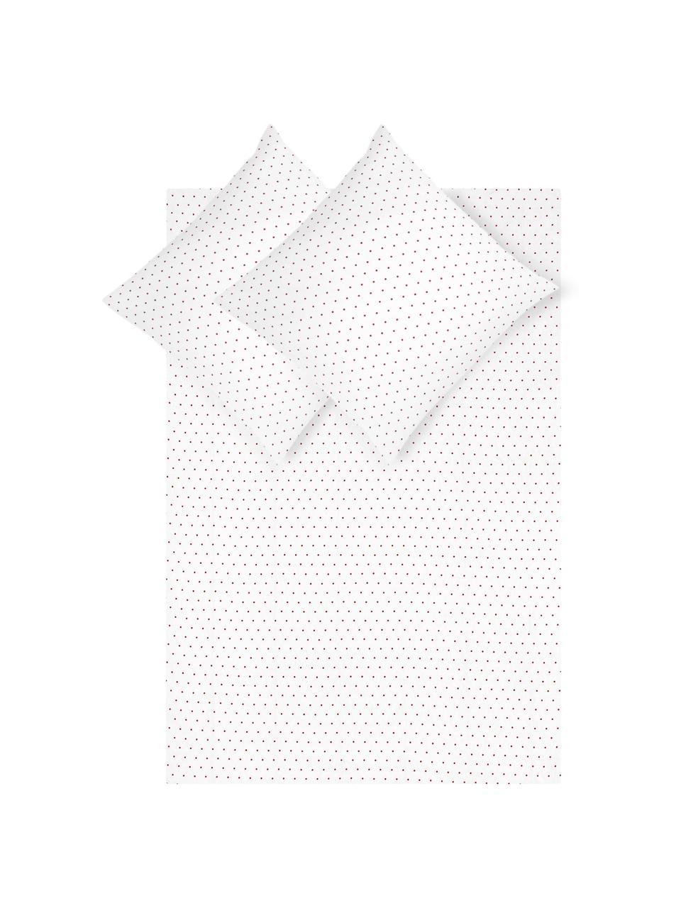 Flanell-Bettwäsche Betty, gepunktet, Webart: Flanell Flanell ist ein s, Weiß, Rot, 200 x 200 cm + 2 Kissen 80 x 80 cm