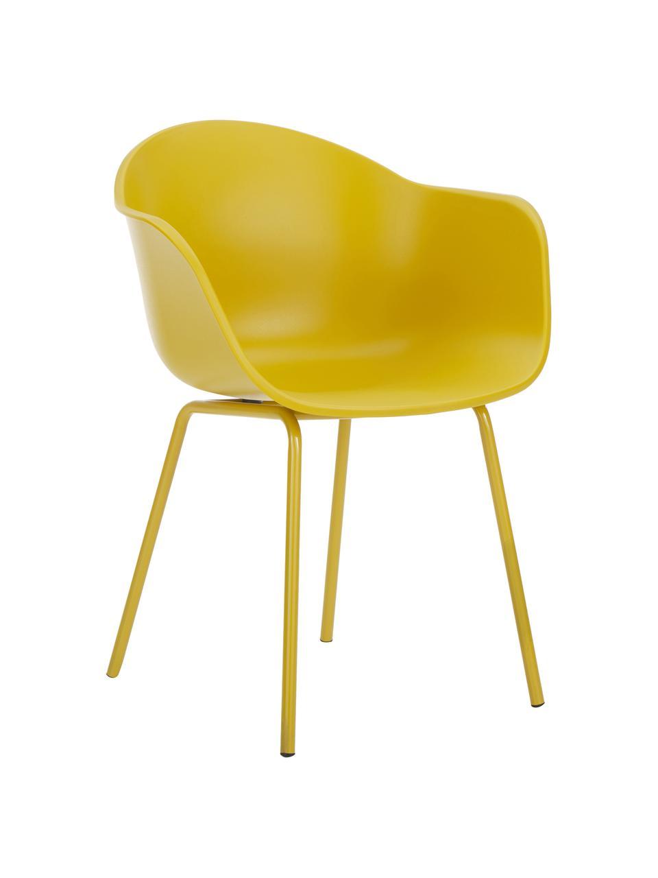 Kunststoff-Armlehnstuhl Claire mit Metallbeinen, Sitzschale: Kunststoff, Beine: Metall, pulverbeschichtet, Gelb, B 60 x T 54 cm
