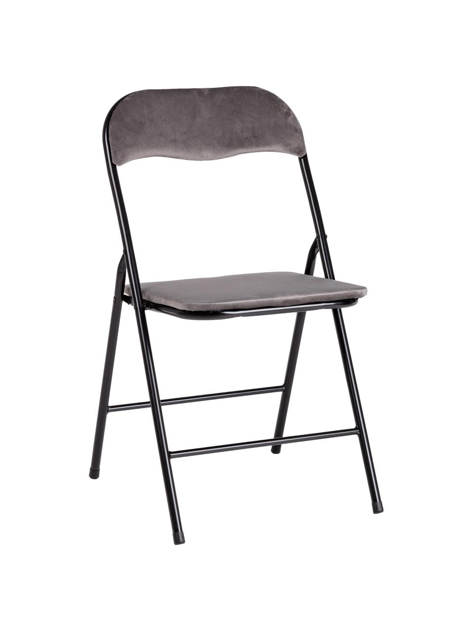 Chaise pliante en veloursAmal, Gris