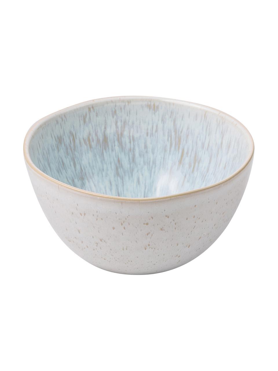 Handbemalte Schälchen Areia mit reaktiver Glasur, 2 Stück, Steingut, Hellblau, Gebrochenes Weiß, Hellbeige, Ø 15 x H 8 cm