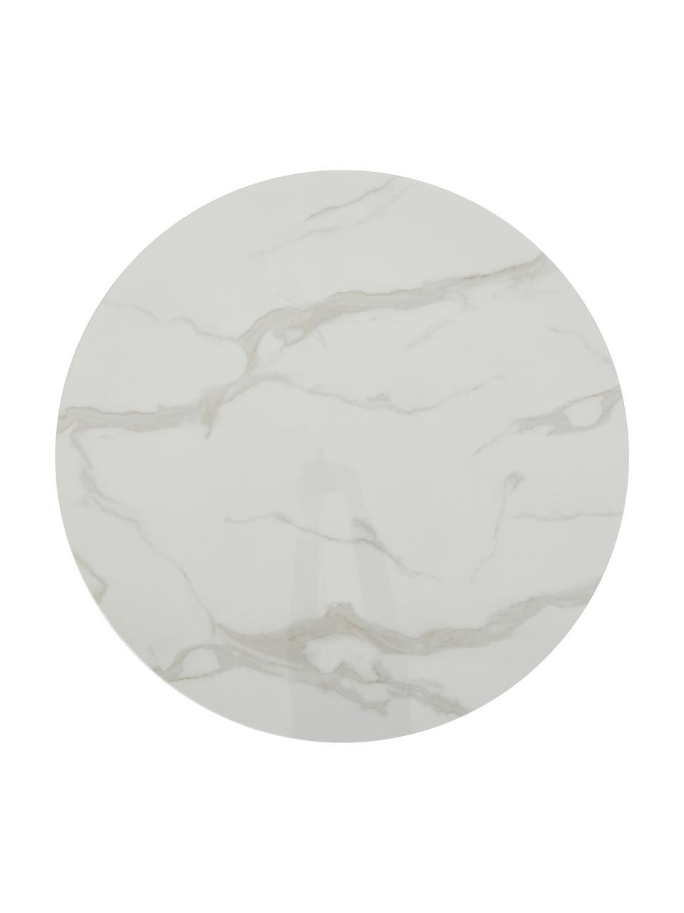 Marmeren ronde eettafel Karla, Tafelblad: MDF, bedekt met gelakt pa, Tafelblad: wit, gemarmerd. Tafelpoot: mat zwart, Ø 90 x H 75 cm