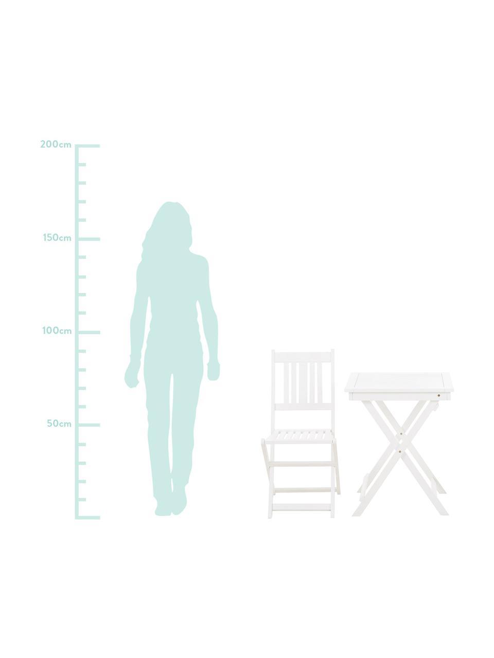 Gartenmöbel Set Skyler aus Akazienholz, 3-tlg., Weiß, Sondergrößen